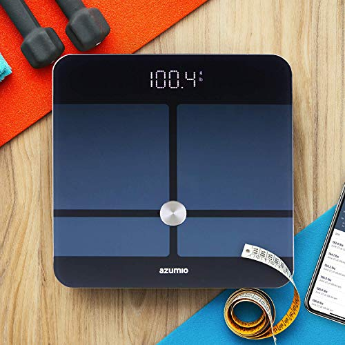 Azumio Bluetooth Digital Smart Scale for Body Weight   6mm Tempered Glass LED Display Measures Body Fat, Visceral, BMI, BMR, Muscle Mass, Bone Mass Water Weight in KG or LB   iOS & Android Compatible by Azumio (Image #6)
