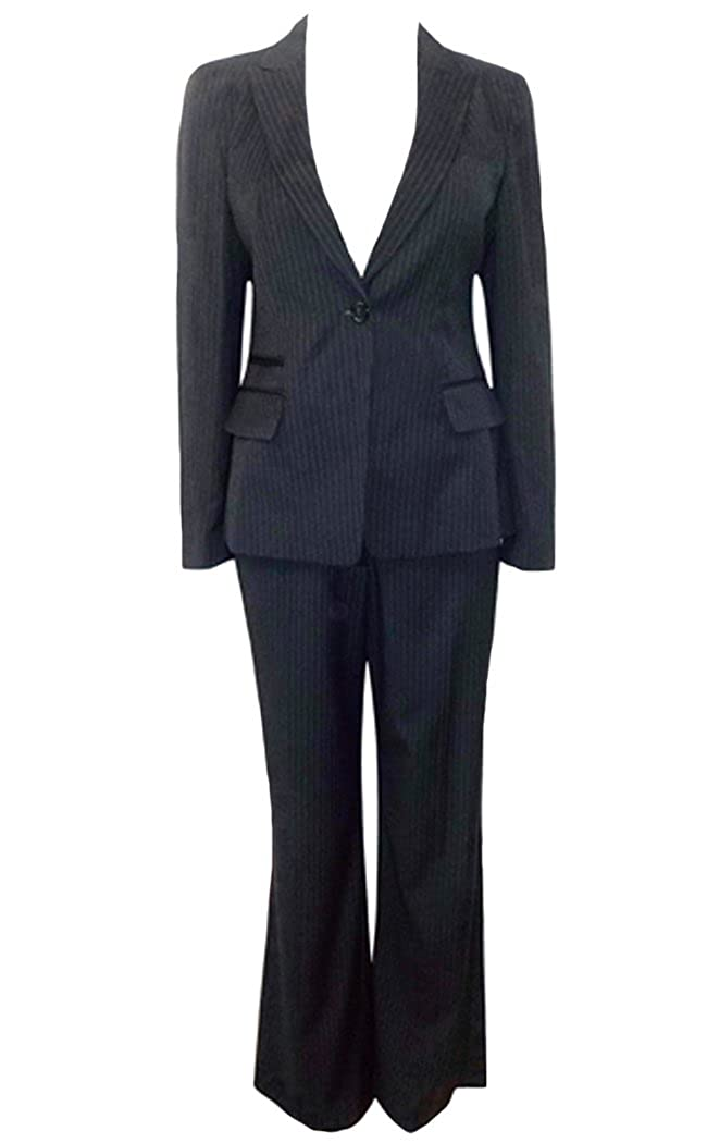 Ladies Ex Marks and Spencer Smart Pinstripe 2-Piece Wide Leg Trouser Suit