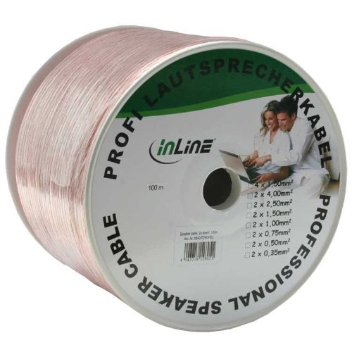 InLine 98400T Cable de Audio - Cables de Audio (100m, Cobre, Transparente)