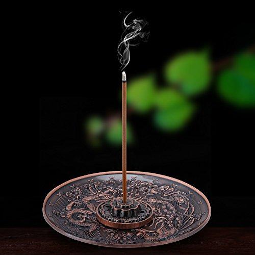 Zinc Alloy Incense Stick Burner Holder Dragon Pattern Censer Plate for Bedroom Office,Fit for 1.8mm 2.5mm 3.5mm Incenser Sticks(Red-Bronze)