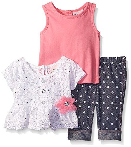 Dot Capri Set Clothes (Little Lass Baby Girls' 3 Piece Capri Set Disco Dot Lace, Rose, 6-9 Months)