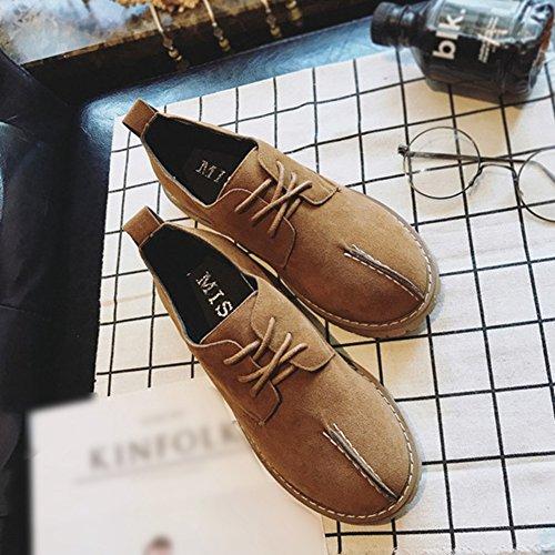 T-juillet Chaussures Mode Oxfords - Plate-forme Confortable Talon Bas Lacets Mubuck Rétro Chaussures Kaki