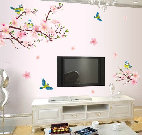 Emiracleze Christmas Gift Peach Blossom Magpie Removable Mural Wall Stickers Wall Decal For Television Background Wall And Home Decor