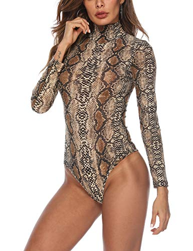 Queen.M Women's Basic Solid Bodysuit Turtleneck Leotard Top Long Sleeve Bodycon Jumpsuit Stretchy Romper (Snake Skin Print, S)