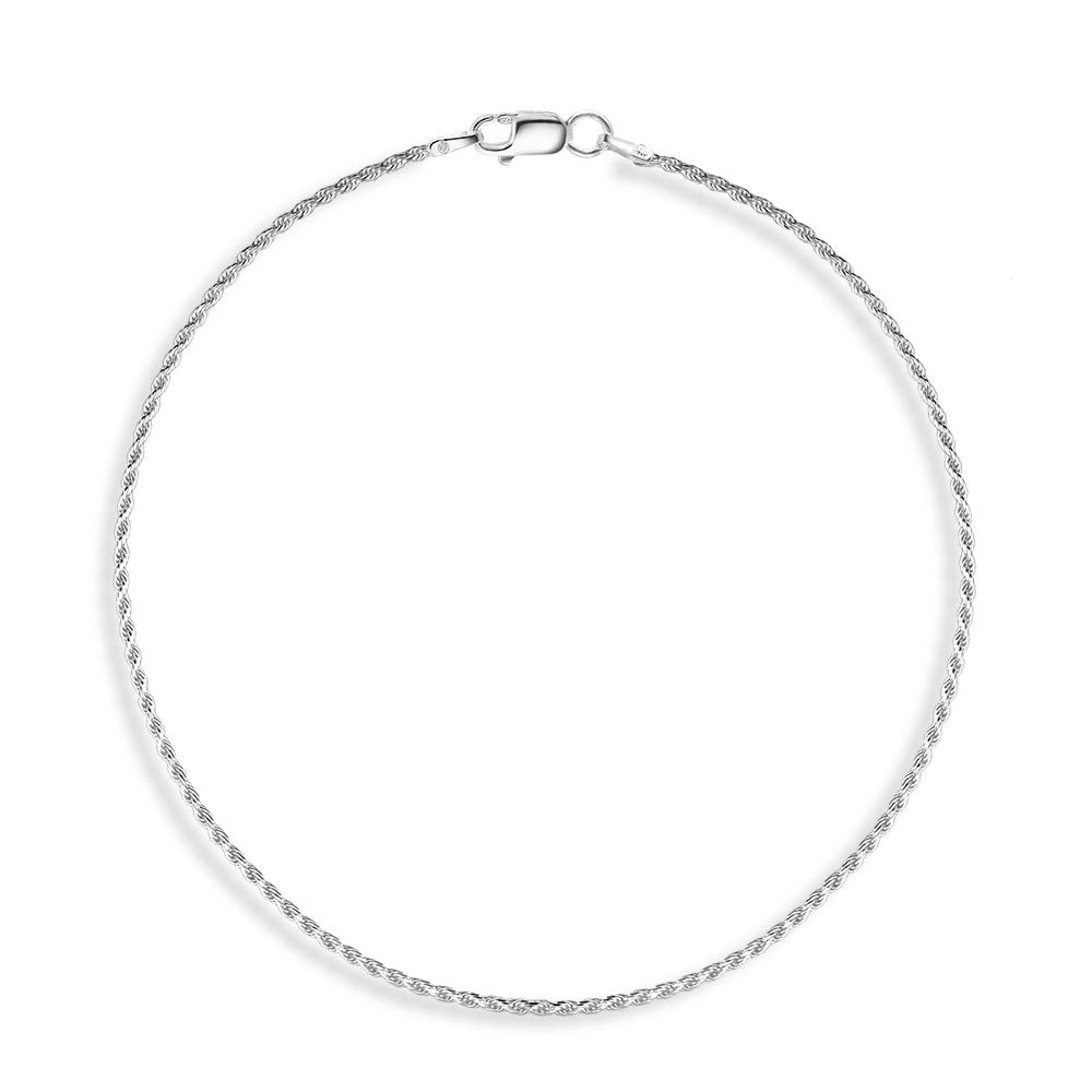 H /& I Jewelers Sterling Silver 925 Italy Diamond Cut Rope Anklet 1.2MM 9-10
