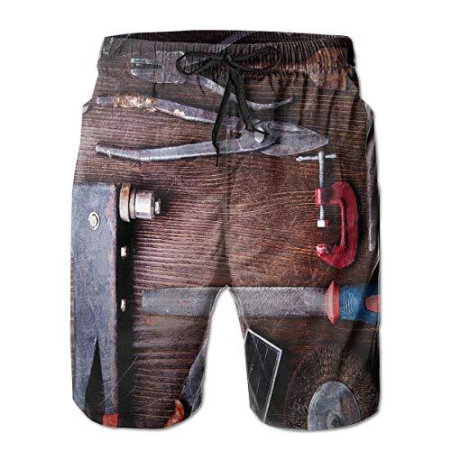 TARDIGA Motor Repair Tools Mens Beach Shorts Swim Trunks Quick-Dry Board Trunks with Pockets