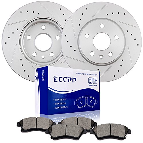 Brake Rotors Pads kits ECCPP Front Slotted Drilled Rotors and QuickStop Ceramic Disc Brake Pads Set for 2011 2012 2013 2014 2015 Chevrolet Cruze,2013 2014 2015 Chevrolet Sonic ()