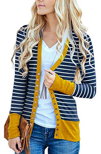 (RichCoco Women's Striped Snap Button Down Open Front Long Sleeve Contrast Color Casual Cardigans Sweaters (Mustard, XXXL))