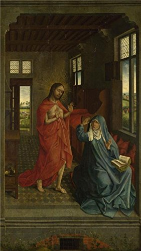 Oil Painting 'Follower Of Rogier Van Der Weyden-Christ Appearing To The Virgin,late 15th Century' Printing On High Quality Polyster Canvas , 20x36 Inch / 51x90 Cm ,the Best Study Artwork And Home Artwork And Gifts Is This Imitations Art DecorativeCanvas Prints