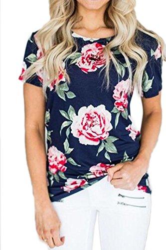 Camisas de impresión Floral de la moda T de manga corta de mujer Blue