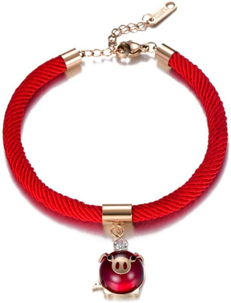 LKYH Gargantillas de Color Oro Rosa Ross Cristal de Cuarzo Cerdo Rosa Rojo Collar Pulsera para Mujeres niños Regalo