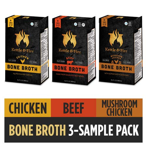 Bone Broth Variety Pack, Mushroom Chicken, Beef, and Chicken by Kettle and Fire, Keto Diet, Paleo Friendly, Whole 30 Approved, Gluten Free, with Collagen, 10g of Protein (Pack of 3) (Best Mushroom Barley Soup)