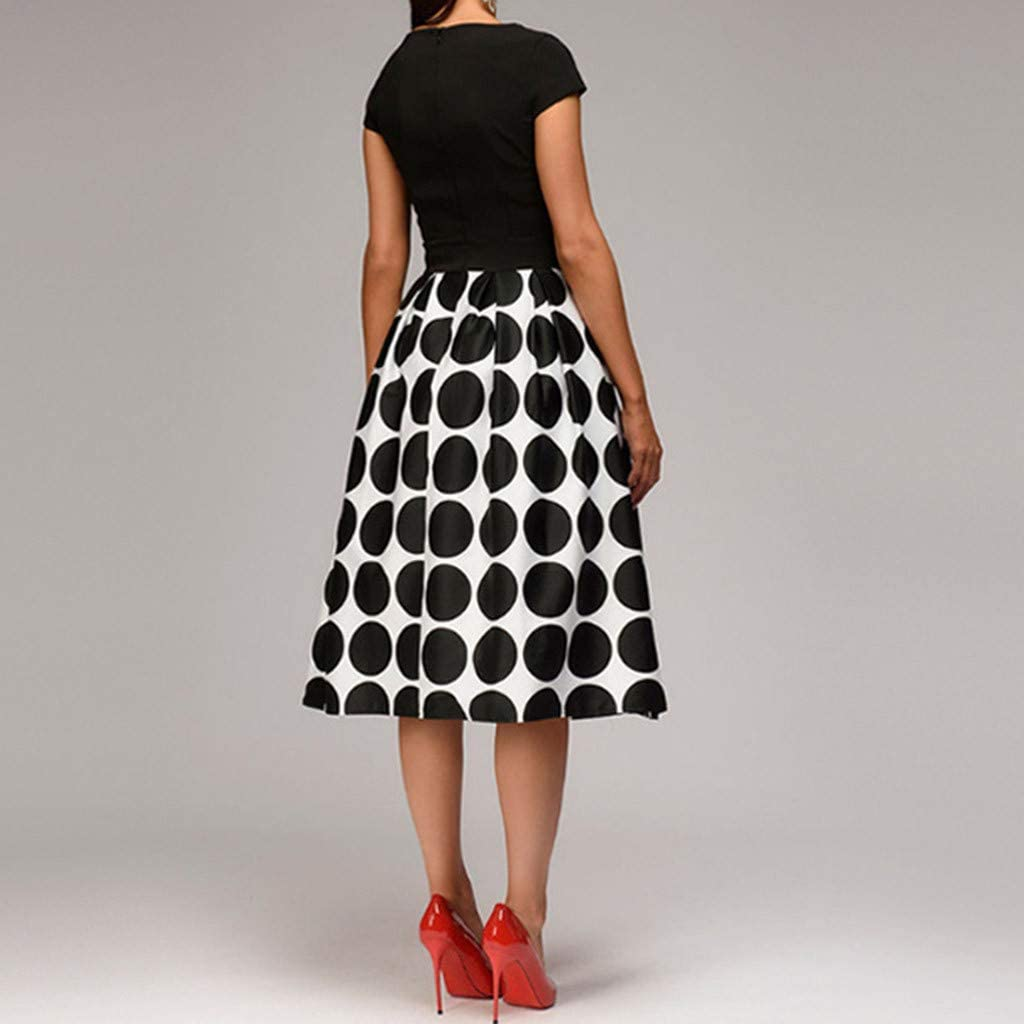 A-line Cocktail Dress,PAOLIAN Women Cap Sleeve Polka Dot Printed Knee Evening Gowns Swing Prom Party Rockabilly Dress with Pocket