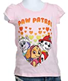 Paw Patrol  Toddler Girls' Short Sleeve T-Shirt Shirt, Light Pink Hearts, 5T