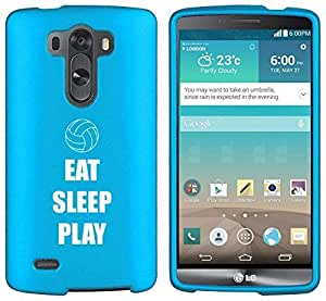 LG G3 Vigor Snap On 2 Piece Rubber Hard Case Cover Eat Sleep Play Volleyball (Light Blue)