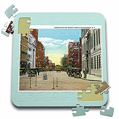 BLN Vintage US Cities and States Postcards - Corner Main and Market Streets, Poughkeepsie, New York Street Scene - 10x10 Inch Puzzle (pzl_170365_2)