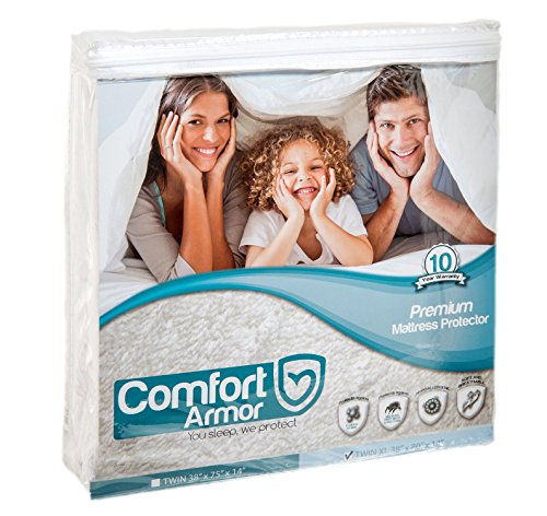 Mattress Cover Twin XL Size by COMFORT ARMOR - Waterproof Mattress Protector - Protect your Mattress against Bedbugs, Dust Mites and Spills - Hypoallergenic and Breathable Vinyl Free Mattress Pad (Twin Sofa Bed Matress)