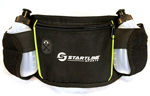Startline Sports Running Belt, 2 Water Bottles, Easy to Use, Zippered Pocket Safely Keeps Valuables Secure