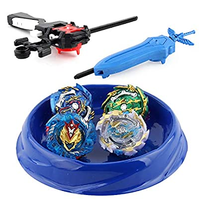Tech Combat Gyro Burst | 4 Pieces Speed Gyro Metal Combat Gyro Set | 4D Fusion Model Burst Evolution Combination Series with 2 Launcher Toys: Toys & Games