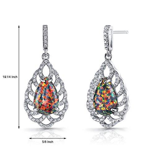 créés Opale Noir Vintage Boucles d'Oreilles Pendantes en Argent Sterling 4carats