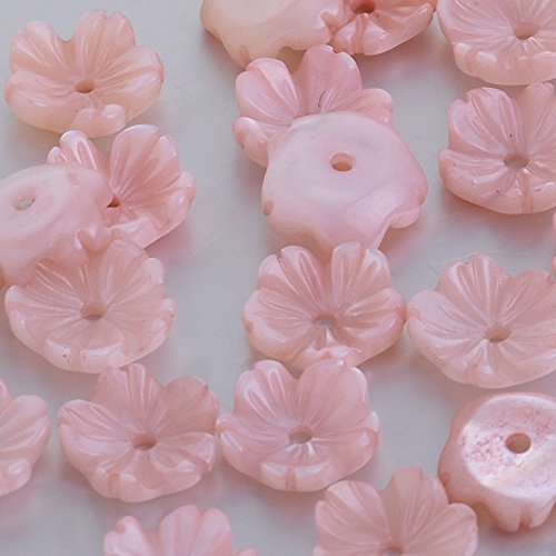 8mm Mother Pearl Shell Carved Mother of Pearl Flower Cabochon central hole 1mm diy Jewelry Accessories,sold 10pcs/lot,pink ()