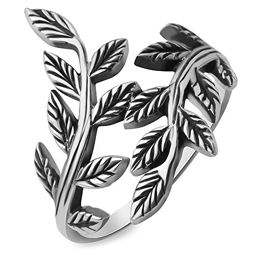 Chuvora 925 Oxidized Sterling Silver Filigree Bay Ivy Leaves Leaf Vine Vintage Design Women Ring Size 7