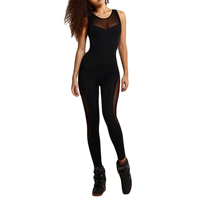 87e0eeb78a89ee Image Unavailable. Image not available for. Colour: hjuns Women Yoga Running  Fitness Leggings High Elastic Workout Pants Jumpsuit Sport ...