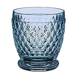 Blue Old-Fashioned Crystal Glasses Set of 4