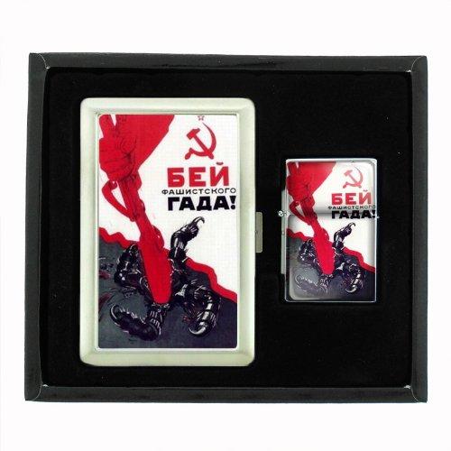 Smash Vile Fascist Russian Wwii Cigarette Case and Oil Lighter Gift Set D-166