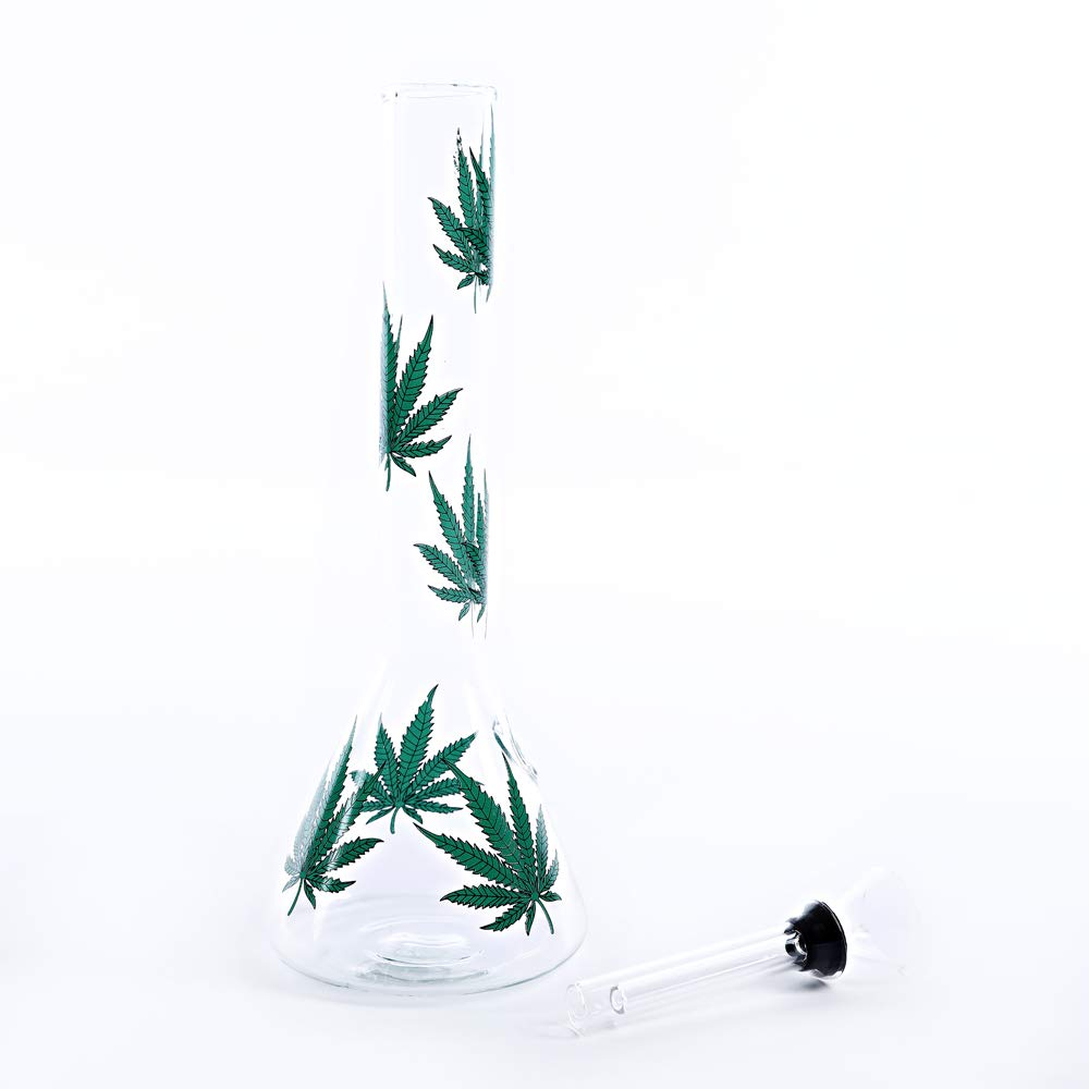 TORINGING Handmade Glass Crafts Pipe, 8Inch Dual Water Percolator Glass Big Water Chamber - Easy to Grip and with Ice Shelf, Unique Green Leaf Design by TORNGING (Image #5)