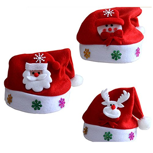 3 pcs Child Christmas Traditional Cap Santa Claus Snowman Reindeer Hat For Kids (Kids Santa Hat)