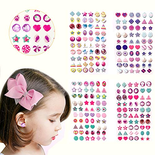 Augsun 240 Piece Sticker Earrings 3D Gems Sticker Girls Sticker Earrings Self-Adhesive Glitter Craft Crystal Stickers -