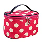 Cosmetic Bag Cute, Stylish Polka Dots Travel Toiletry Bag Zipper Makeup Organizer Brush Travel Storage Box (20.3x15.7x11.8cm/7.99x6.18x4.64'', Watermelon Red)