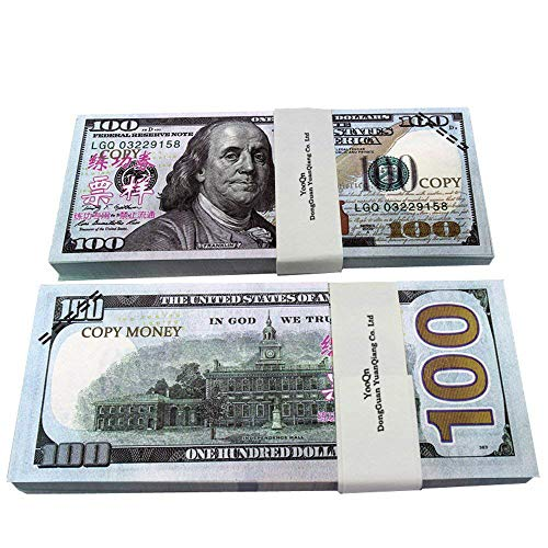 XDOWMO Prop Money Play Money Full Print New Money Copy of 100 Dollar Bills Stack -
