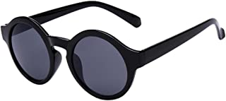 Women Women Men Round Glasses Unisex Fashion Mirror Sunglasses (Black, 48)