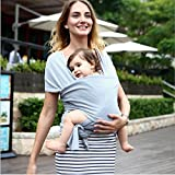 Natural Baby Carrier Baby Wrap from Birth to Toddler, Gender Neutral Soft Baby Sling Wrap for Infants up to 44lbs/20kg, Suitable for Both Moms and Dads, Soft & Comfortable Gray Wrap