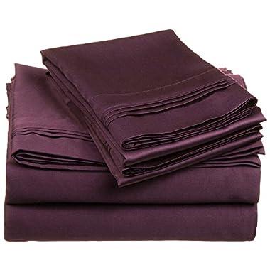 100% Premium Long-Staple Combed Cotton 650 Thread Count, King 4-Piece Sheet Set, Deep Pocket, Single Ply, Solid, Plum
