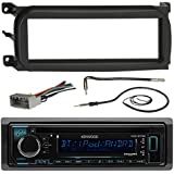 Kenwood KDCBT32 Bluetooth CD Car Stereo Audio Receiver - Bundle Combo W/Metra Dash Kit For 1998-Up Chrysler/Dodge/Jeep Vehicles + Antenna Adapter Cable + Radio Wiring Harness + Enrock Antenna