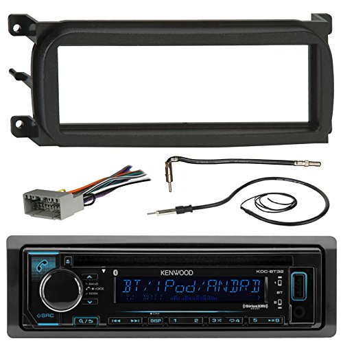 Kenwood KDCBT32 Bluetooth CD Car Stereo Audio Receiver - Bundle Combo W/ Metra Dash Kit For 1998-Up Chrysler/Dodge/Jeep Vehicles + Antenna Adapter Cable + Radio Wiring Harness + Enrock Antenna