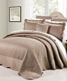 Serenta Matte Satin 4 Piece Bedspread Set, King, Taupe
