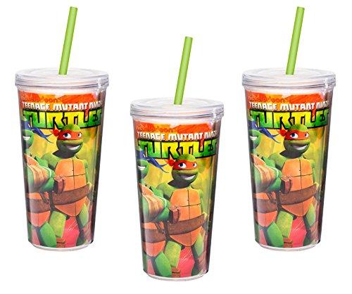 [3-Pack] Teenage Mutant Ninja Turtles Double-Wall Tumbler Cup with Straw, 16 oz