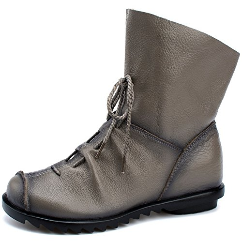 Womens Genuine Leather Casual Soft Flat Boots Grey ()