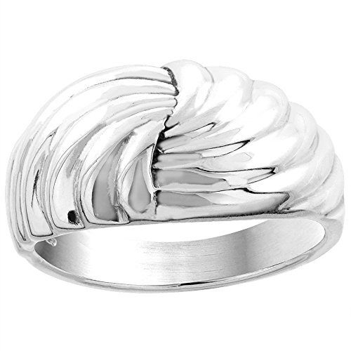 Sterling Silver Scalloped Dome Ring for Women 7/16 inch size 5