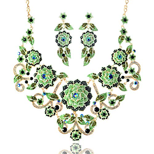 LAN PALACE 2019 Big Flower Necklace and Earrings for Party and Wedding Jewelry Sets (Green) (Best Printer For Designers 2019)