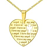 14K Yellow Gold Heart Charm with I Love My Angel Script Pendant Figaro Chain Necklace, 24''