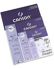 ورق مائي - ورق ألوان مائية كانسون مكس ميديا إيماجين باد 200 جم/م2 50 ورقة A5 A4 A3 فرنسا (A3 (297x420 مم)