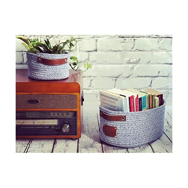 DECOMOMO Round Foldable Storage Bin Set of 2 Woven Cotton Rope Baskets with Handles | Great for Nursery/Toys/Stationary/Keys (Blue)