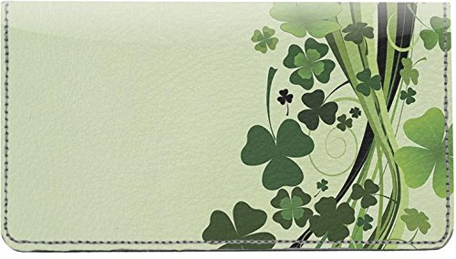 Stylistic Shamrocks Leather Checkbook Cover