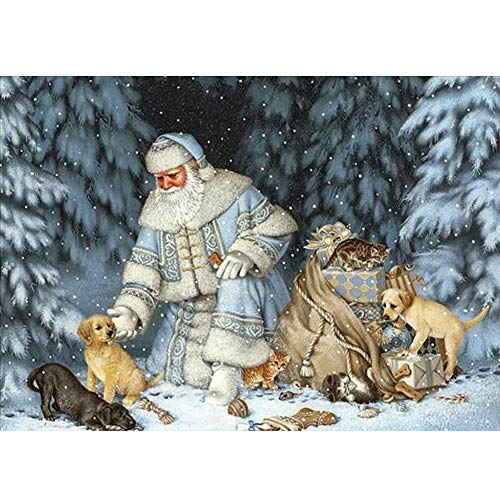 (UPMALL DIY 5D Diamond Painting by Number Kits, Full Drill Crystal Rhinestone Embroidery Pictures Arts Craft for Home Wall Decoration Santa Claus and Animals 15.7×11.8 Inches)