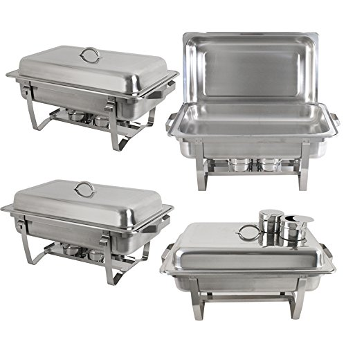 Super Deal Stainless Steel 4 Pack 8 Qt Chafer Dish w/Legs Complete, 4 Pack (pack of 4) by SUPER DEAL (Image #3)